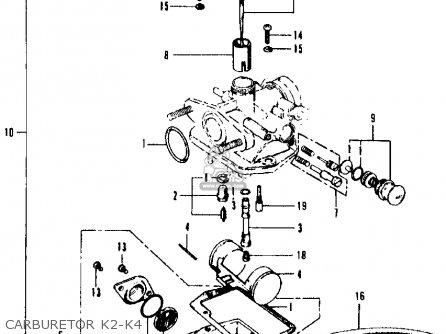 16100-102-034) Carburetor Assy. Ct90 Trail 1970 K2 Usa 16100102014