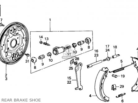 Honda Accord 1986 3dr Lxi Non-passive ka Rear Brake Shoe