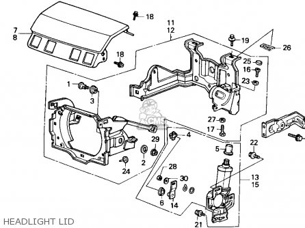 Honda Accord 1989 4dr Lxi Ka Headlight Lid Schematic Partsfiche