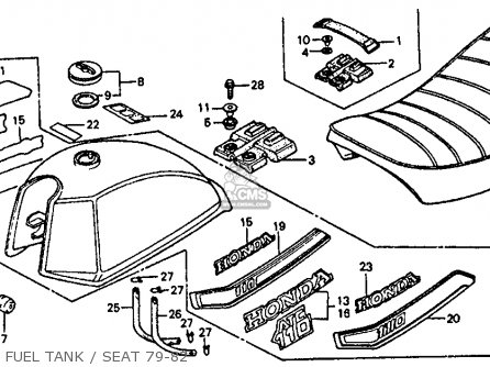 Honda Atc110 1982 c Usa Fuel Tank   Seat 79-82