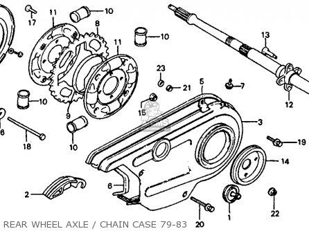 Honda Atc110 1982 c Usa Rear Wheel Axle   Chain Case 79-83