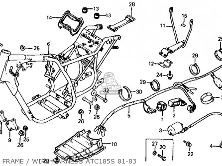 Honda Atc185s 1983 Usa Frame   Wire Harness Atc185s 81-83