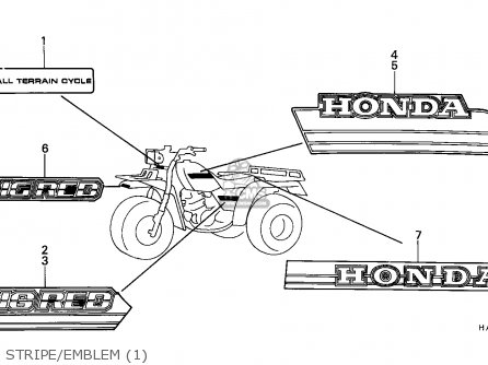 Honda Atc250es Big Red 1985 f Stripe emblem 1