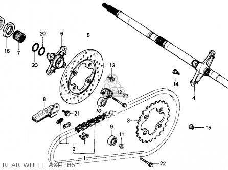 honda atc250r 1986 g usa parts lists and schematics  rear wheel axle 86