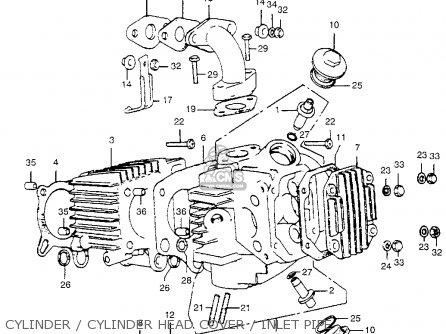 honda atc70 1974 atc70k1 usa cylindercylinder head coverinlet pipe_mediumhu0061e7101_caf1 honda atc70 1974 atc70k1 usa parts lists and schematics