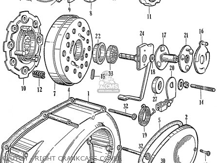 honda c110 general export 140115 parts lists and schematics 1967 Honda Scooter clutch right crankcase cover