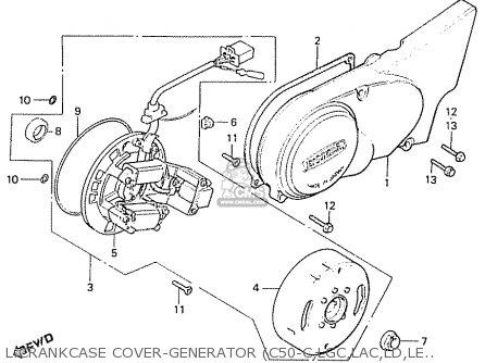 Honda C50lae england L crankcase Cover-generator c50-c lgc lac ld le lae