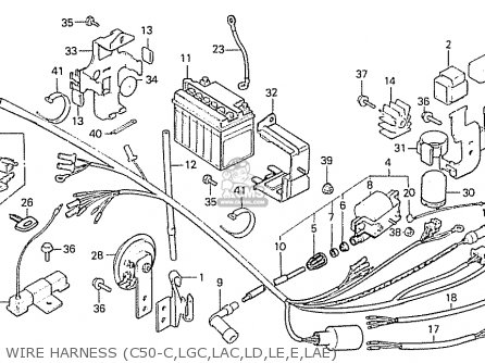 Honda C50lae england Wire Harness c50-c lgc lac ld le e lae