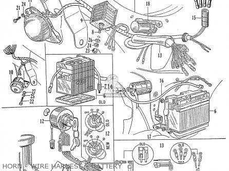 Honda C70 C71 Cs71 1958 1959 1960 Dream General Export 142532 Horn - Wire Harness - Battery