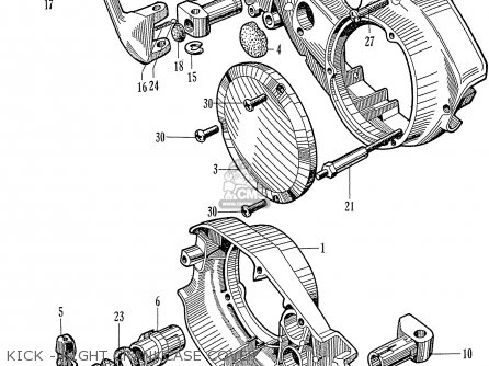 Honda C72 1960 1961 1962ii 1963 Dream 142592 Kick - Right Crankcase Cover