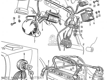 Honda Ca95 Benly  Usa 1320003 Wire Harness - Battery