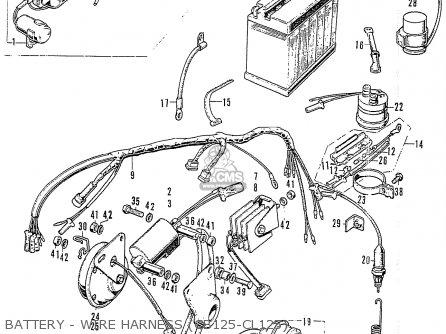 Honda Cb125k3 Battery - Wire Harness cb125-cl125
