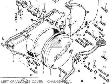 Honda Cb125k3 Left Crankcase Cover - Change Pedal