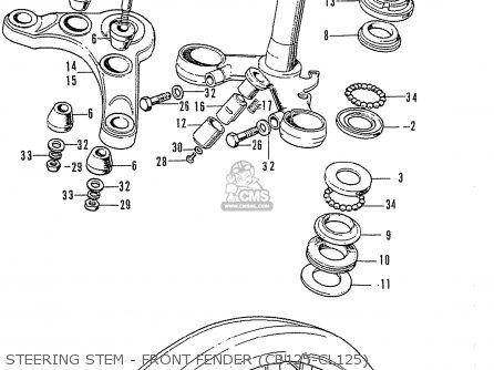 Honda Cb125k3 Steering Stem - Front Fender cb125-cl125