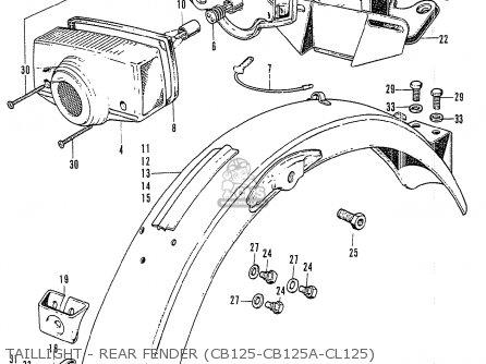 Honda Cb125k3 Taillight - Rear Fender cb125-cb125a-cl125