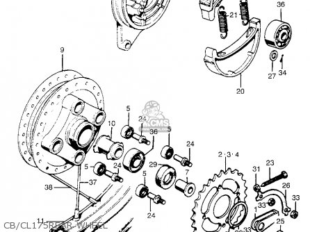 honda cb175k3 super sport 1969 usa parts lists and schematics Volvo Penta Wiring-Diagram cb cl175rear wheel