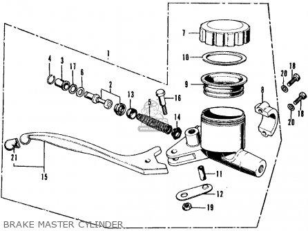 Honda Cb350f Four 1972 Usa Brake Master Cylinder