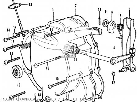 Honda Cb350f Four 1972 Usa Right Crankcase Cover    Clutch Lever