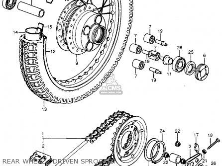 Honda Cb400f 1976 Usa Rear Wheel   Driven Sprocket