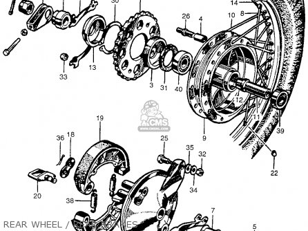 Honda Cb450k0 Black Bomber 1965 Usa Rear Wheel   Rear Brakes
