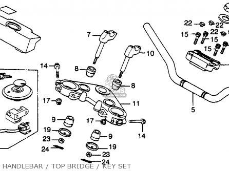 Honda Cb450sc Nighthawk 1985 f Usa California Handlebar   Top Bridge   Key Set