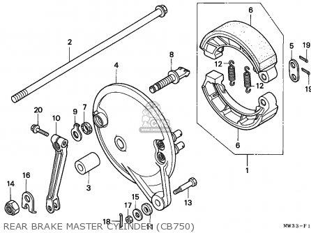 Honda Cb750 Nighthawk 1992 n Canada   Mkh Rear Brake Master Cylinder cb750