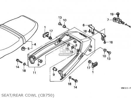 Honda Cb750 Nighthawk 1992 n Canada   Mkh Seat rear Cowl cb750