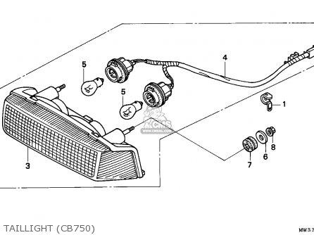 Honda Cb750 Nighthawk 1992 n Canada   Mkh Taillight cb750