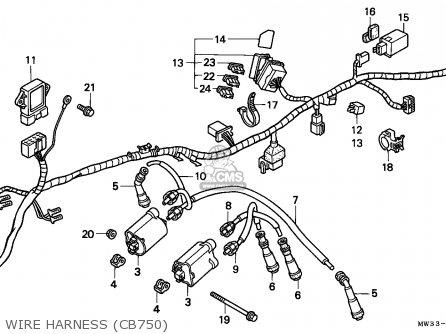Honda Cb750 Nighthawk 1992 n Canada   Mkh Wire Harness cb750