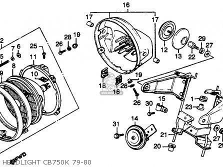 Honda Cb750k 750 Four K 1979 z Usa Headlight Cb750k 79-80