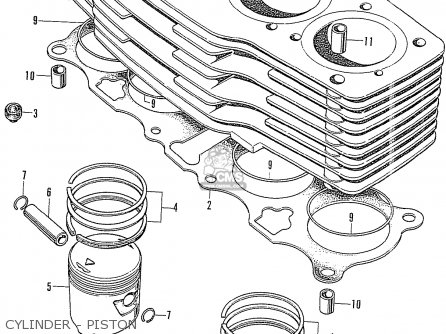Honda Cb750k1 Four general Export Cylinder - Piston