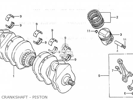 Honda Cb750kz 1979 Four european Direct Sales Crankshaft - Piston