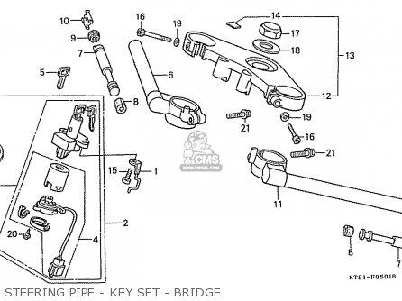 Honda Cbr400rr 1989 k Japanese Domestic   Nc23-109 Steering Pipe - Key Set - Bridge