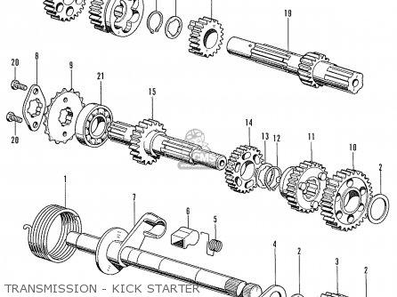 Honda Cd90z General Export Transmission - Kick Starter
