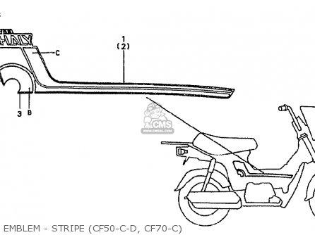 Honda Cf70c Japanese Home Market cf70-320 Emblem - Stripe cf50-c-d  Cf70-c