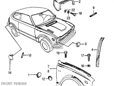Honda Civic 1973 3dr1200 Ka Parts Lists And Schematics