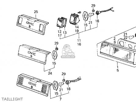 honda civic 1984 e 3dr1300 ka kh kl parts lists and schematics 98 Honda Accord Timing Marks honda civic 1984 e 3dr1300 ka kh kl taillight