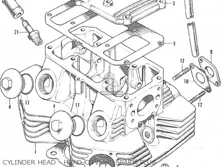 Honda Cl175 Scrambler 175 K6 1972 Usa Cylinder Head - Head Cover - Spark Plug