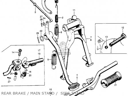 honda cl90 scrambler 1967 usa parts lists and schematics 1968 Honda 50Cc Motorcycle rear brake main stand side stand