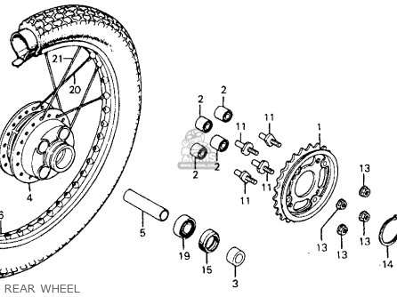 Honda Cm185t Twinstar 1978 Usa Rear Wheel