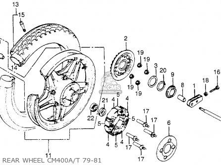 Honda Cm400t 1981 b Usa Rear Wheel Cm400a t 79-81