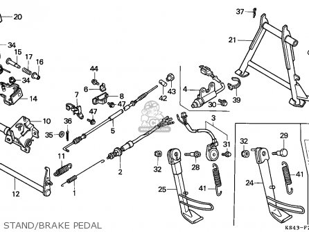 Honda Cn250 Helix 1988 j France Kph Yb Stand brake Pedal