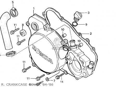 Honda Cr125r 1985 f Usa R  Crankcase Cover 84-86