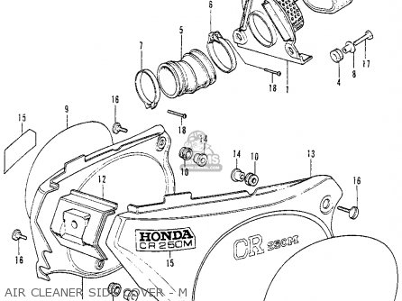 Honda Cr250m Elsinore 1973 K0 Usa Air Cleaner Side Cover - M