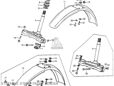 Honda Cr250m Elsinore 1973 K0 Usa Steering Stem   Front Fender