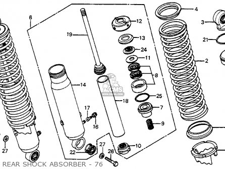 Honda Cr250m Elsinore 1976 Usa Rear Shock Absorber - 76