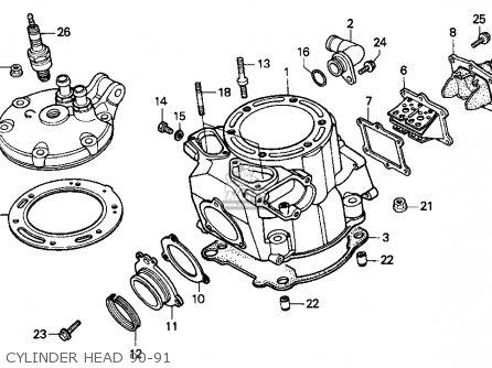 Honda Cr250r Elsinore 1990 L Usa Parts Lists And Schematics. Honda Cr250r Elsinore 1990 L Usa Cylinder Head 9091. Honda. Honda Cr 250 Engine Diagram At Scoala.co