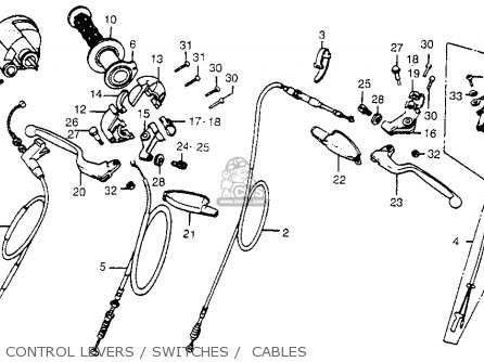Honda Cr450r Elsinore 1981 b Usa Control Levers   Switches    Cables