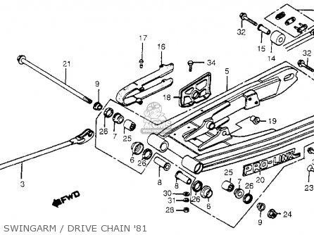 Honda Cr450r Elsinore 1981 b Usa Swingarm   Drive Chain 81