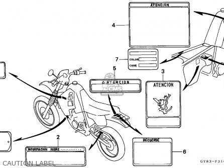 Honda Crm75r 1989 k Spain Caution Label